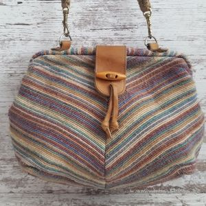 Vintage Clamshell Striped Fabric Bag
